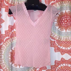 Old Navy M Pink Lace Top